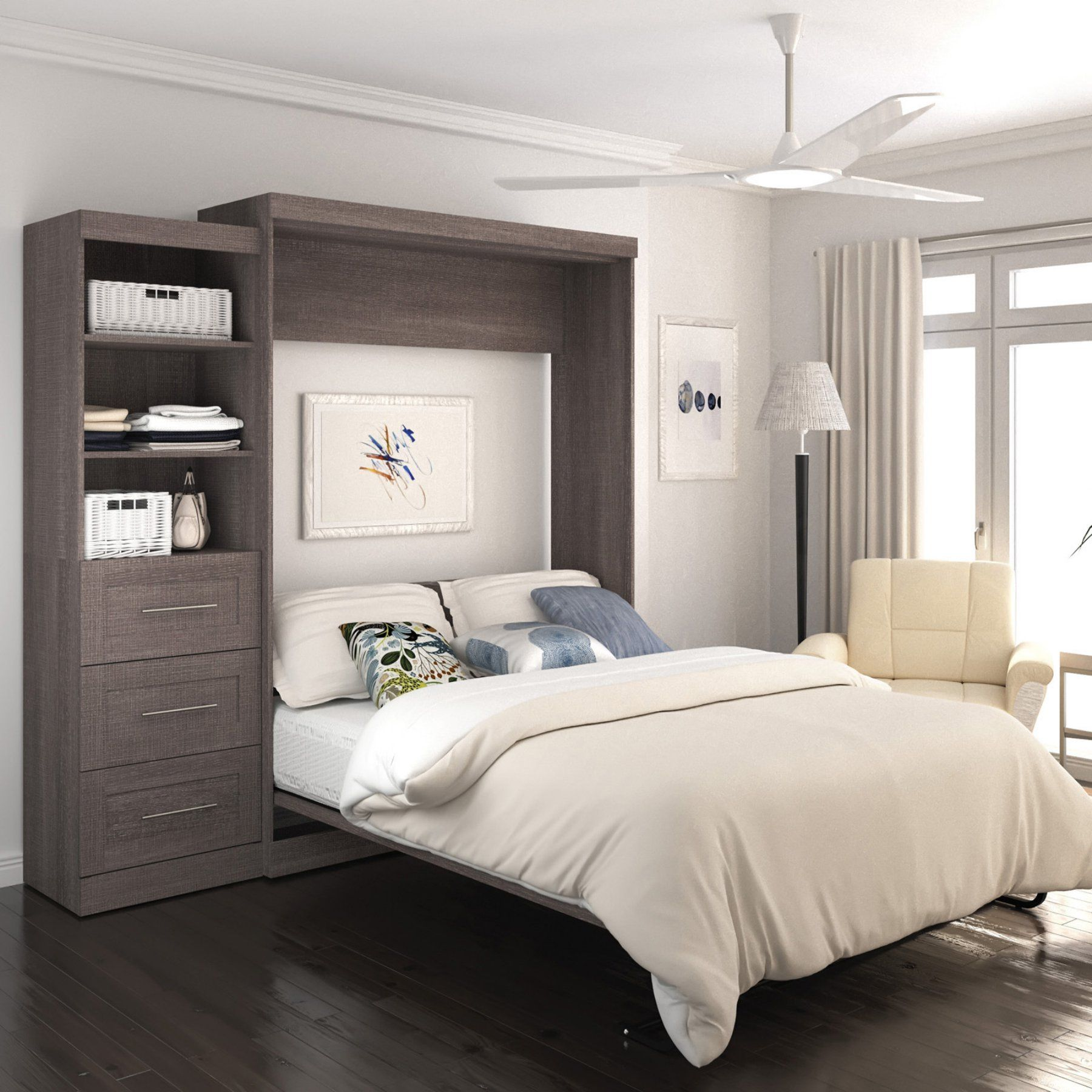 Best Bestar Pur Murphy Wall Bed With Attached 3 Drawer And 1 400 x 300