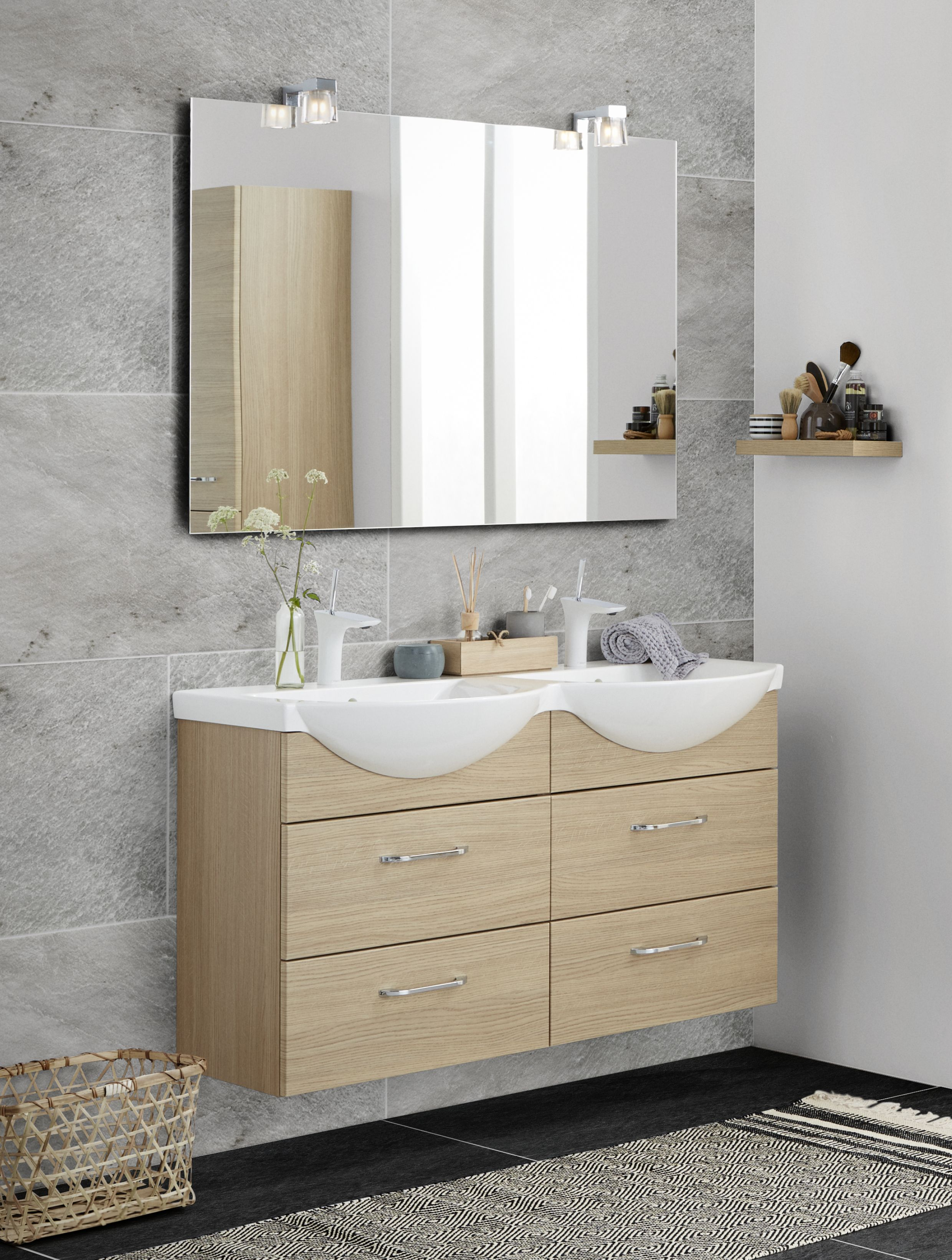 twin basin vivo in the small bathroom large mirror with kubus lights and floating shelf