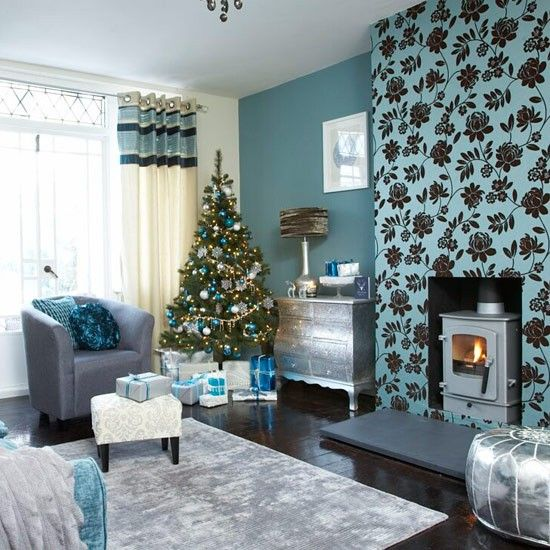 Festive Teal And Silver Living Room Scheme Part 25
