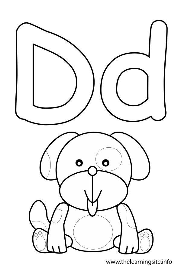 letter d coloring page, dog | Consonant Sound Coloring Pages | Pinterest
