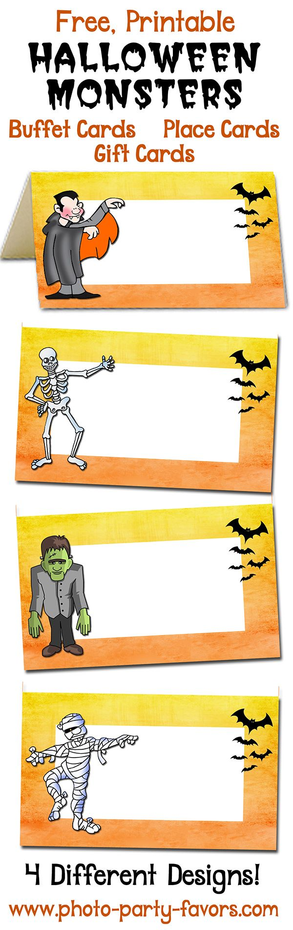 free printable monsters halloween buffet cards label your scarey halloween party food with ghoulish names - Names For A Halloween Party