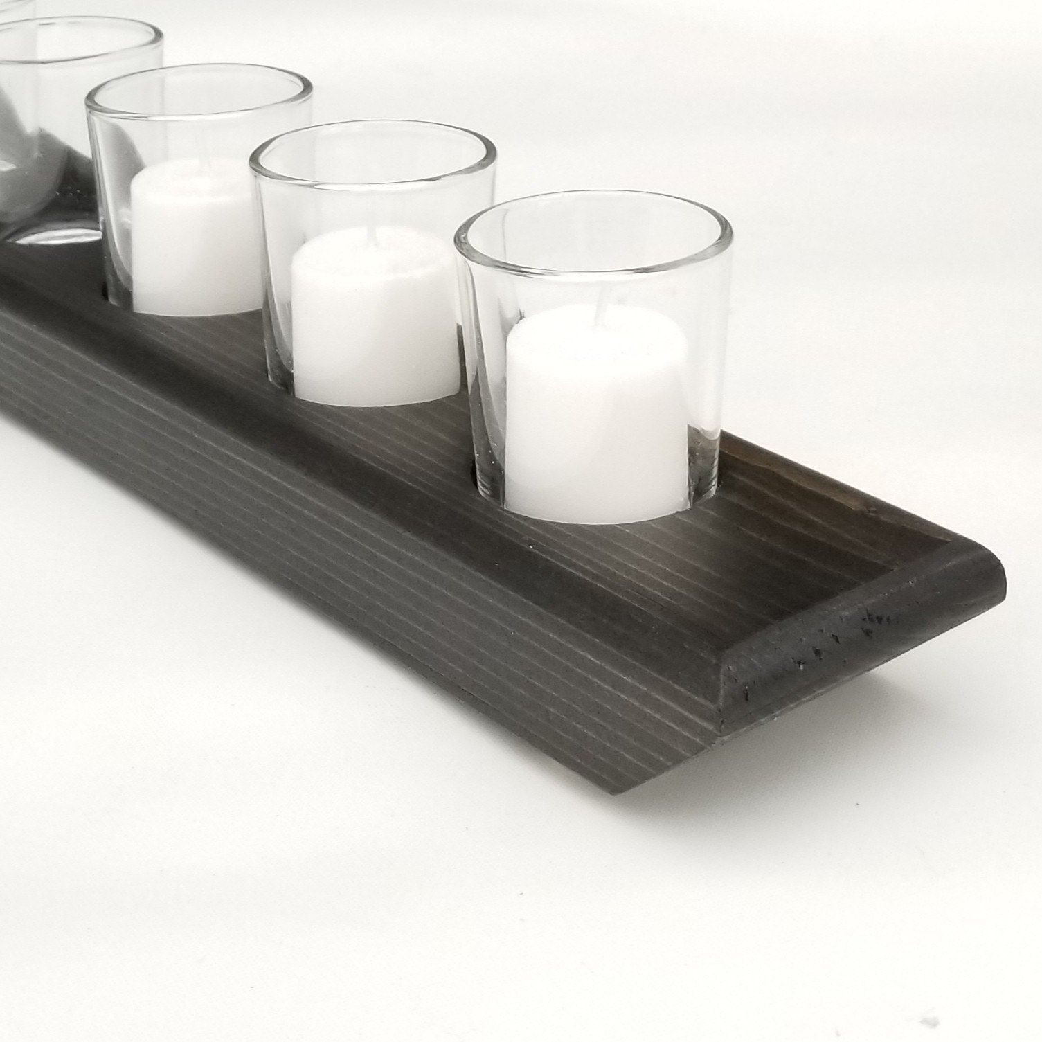 Candle holder centerpiece wood candle tray table