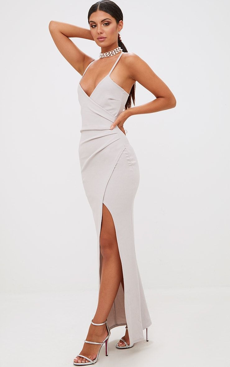 0afb5d11258 Ice Grey Wrap Front Crepe Maxi DressChannel slick and sophisticated style  in this wrap front maxi.
