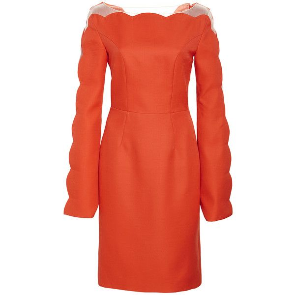 Honor Silk Wool Open Sleeve Fitted Dress ($1,495) ❤ liked on Polyvore featuring dresses, red long sleeve dress, red sheath dress, scalloped dress, wool dress y tight red dress