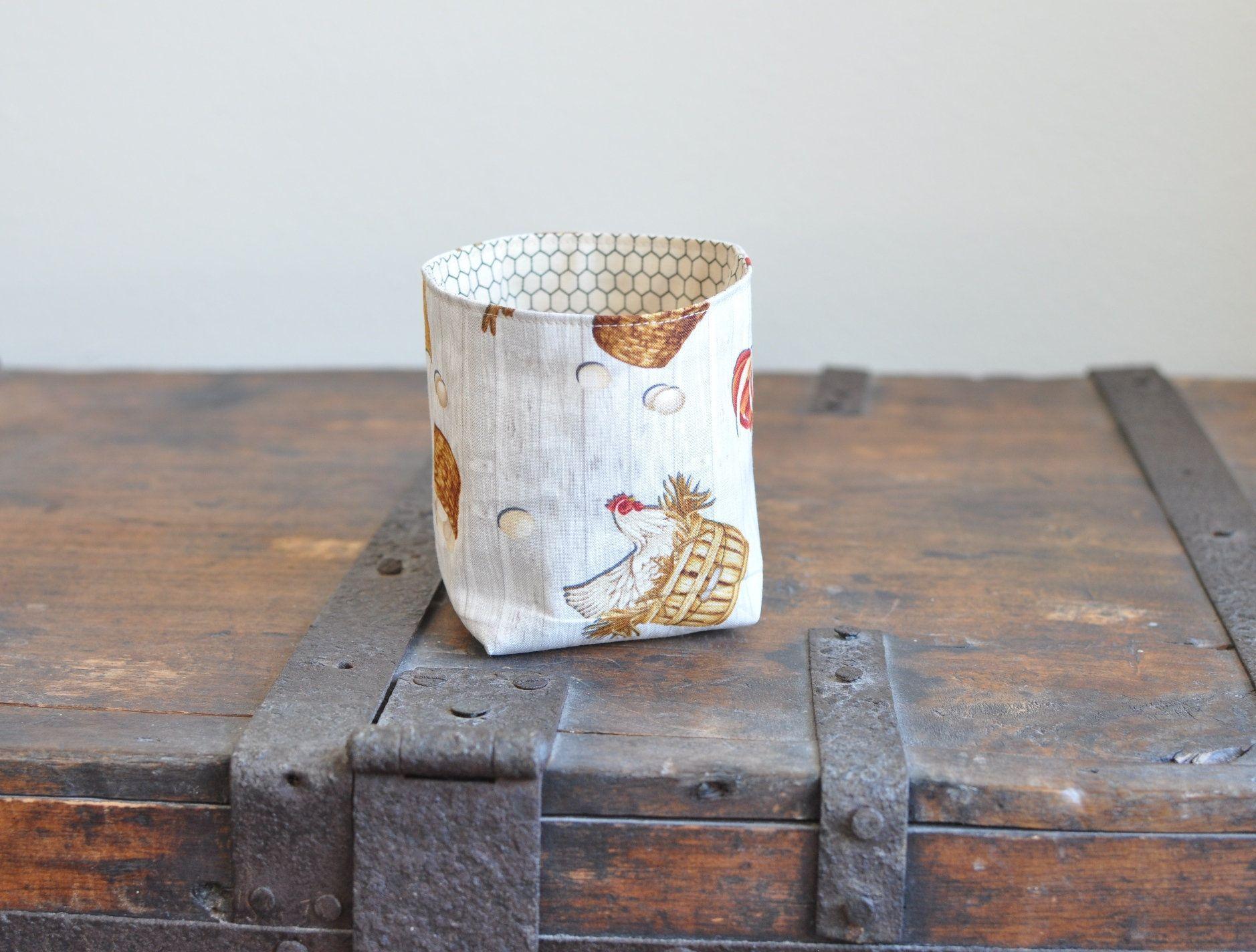 mini Fabric Basket farmhouse decor chicken lover