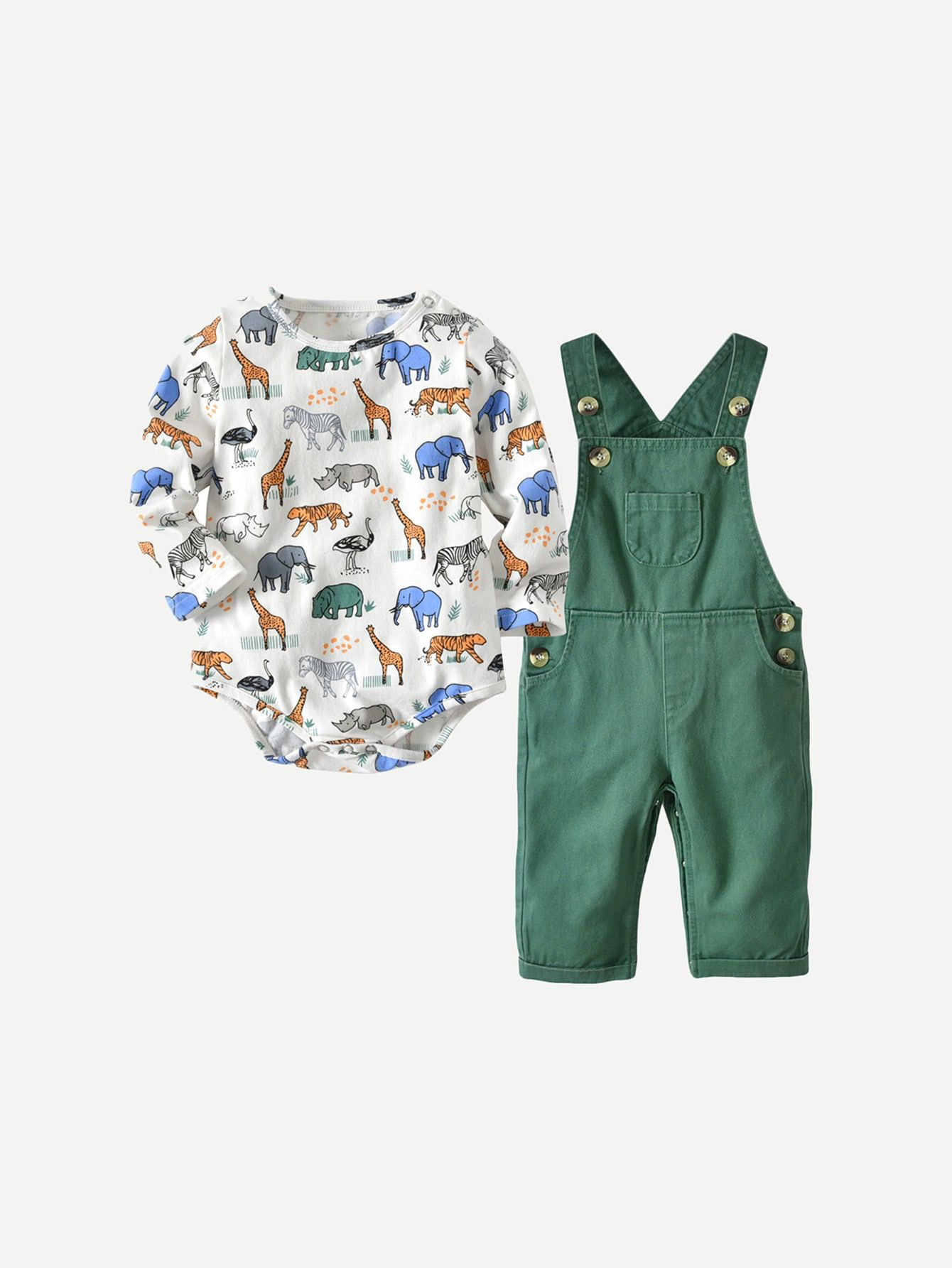 Toddler Boys Animal Print Jumpsuit With Overalls Check out this Toddler Boys  Animal Print Jumpsuit With Overalls on Romwe and explore more to meet your  ... 3d3a92bb40