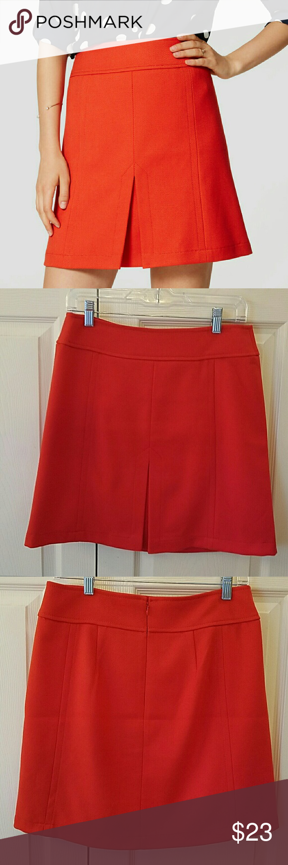 "LOFT Front Pleat Skirt EUC Super cute, orange red skirt with front pleat.  Fully lined. Zips in back.  64% polyester, 34% viscose, 2% spandex.  Length is 19"".  Waist is 31"".  I have worn this twice.  Like new.  No flaws. LOFT Skirts Midi"