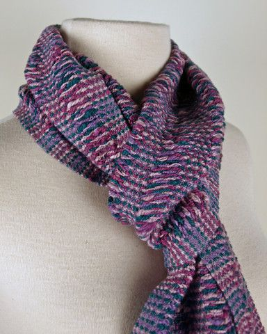 Mixed Berry & Mauve Handwoven Scarf by Loomination