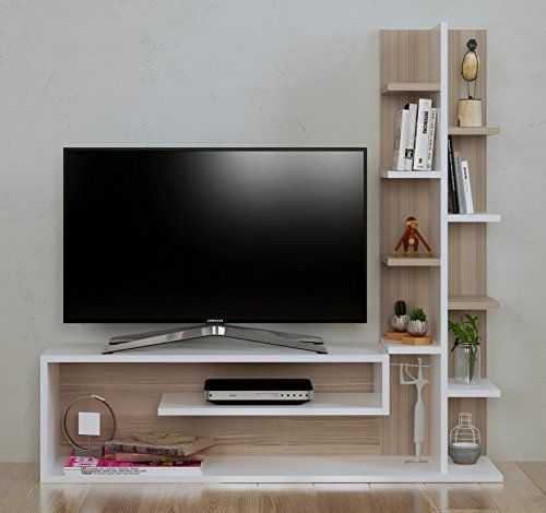 Glory Set Living Room – Slat Wall – Mobile TV Rack with shelf in ...