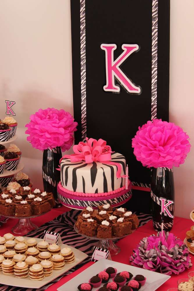 Pink Zebra Animal Print Birthday Party Treats See More