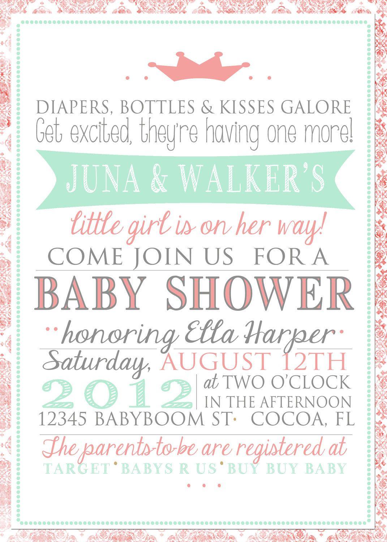 Girly Baby Shower Invitation by JulsNewbrough on Etsy, $20.00 | Baby ...