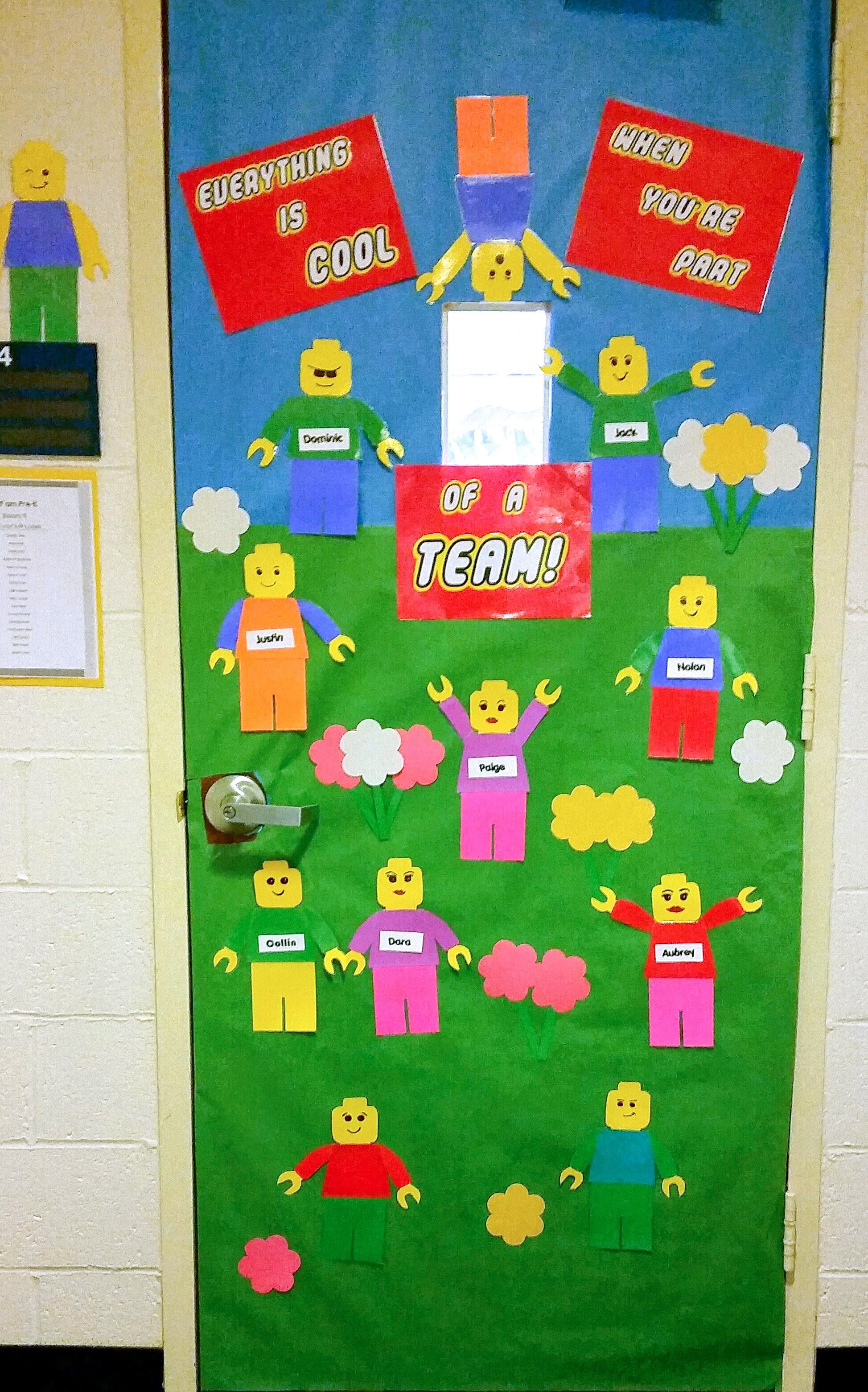 Lego bulletin board. Welcome Door.