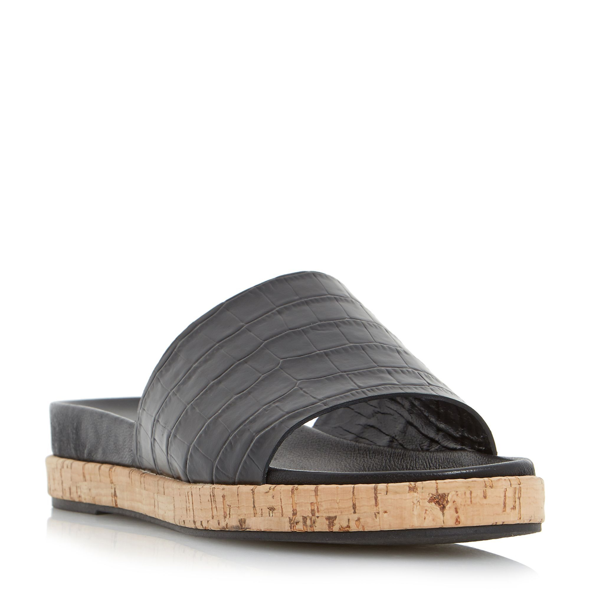 Dune Black Lackey cork effect outsole mule sandals, Black