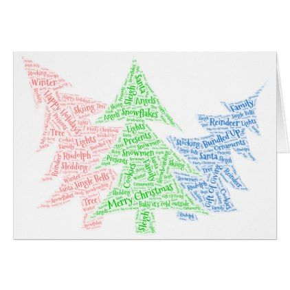 Christmas cards shaped word cloud - template gifts custom diy - christmas template for word