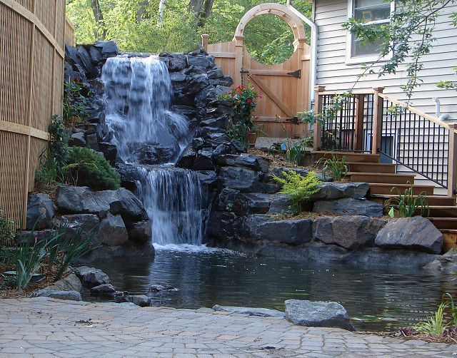 Image result for large backyard waterfalls backyard for Large pond waterfall