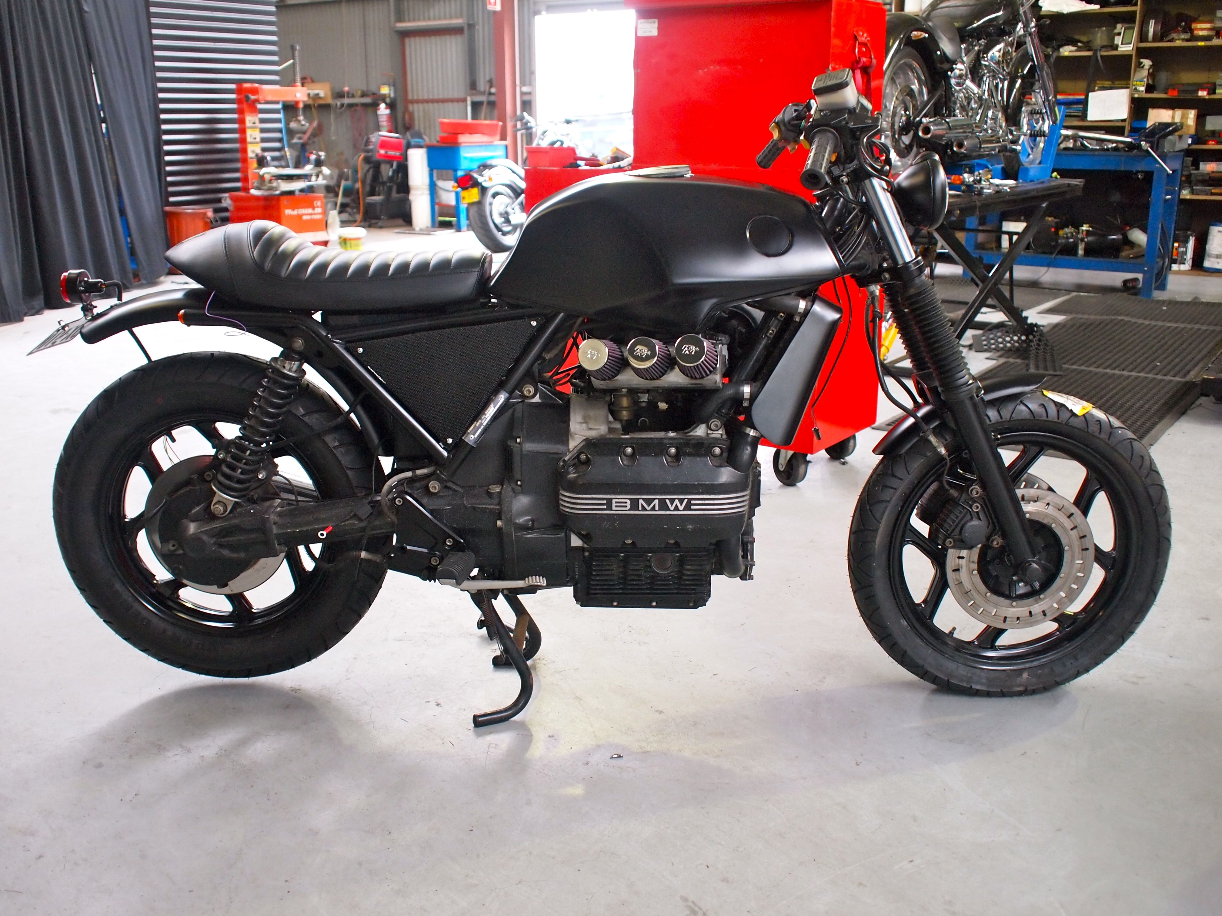 BMW K75 Custom Stage 3 Note the air filters which are a