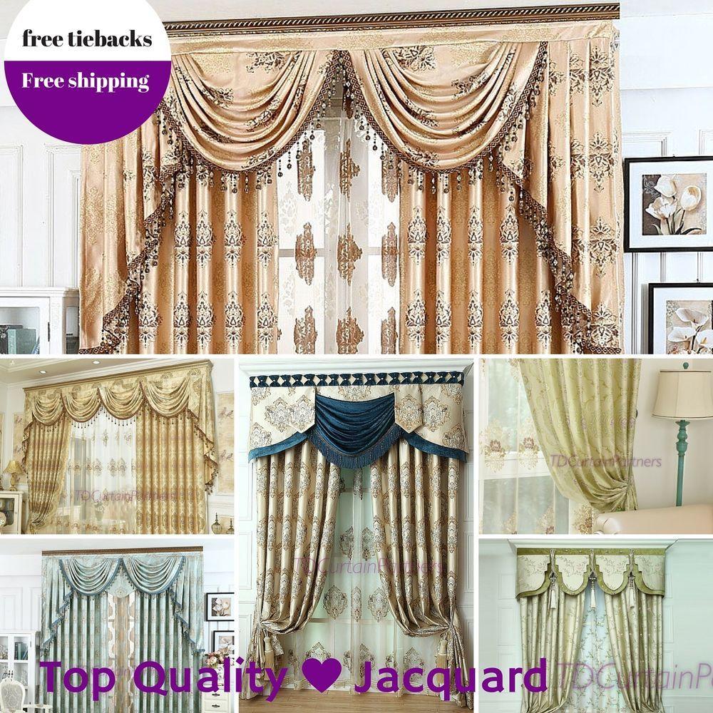 Swag Valance Pelmet Blockout Drapes Blue Bedroom Net Curtain Fabric Sheer Pleats