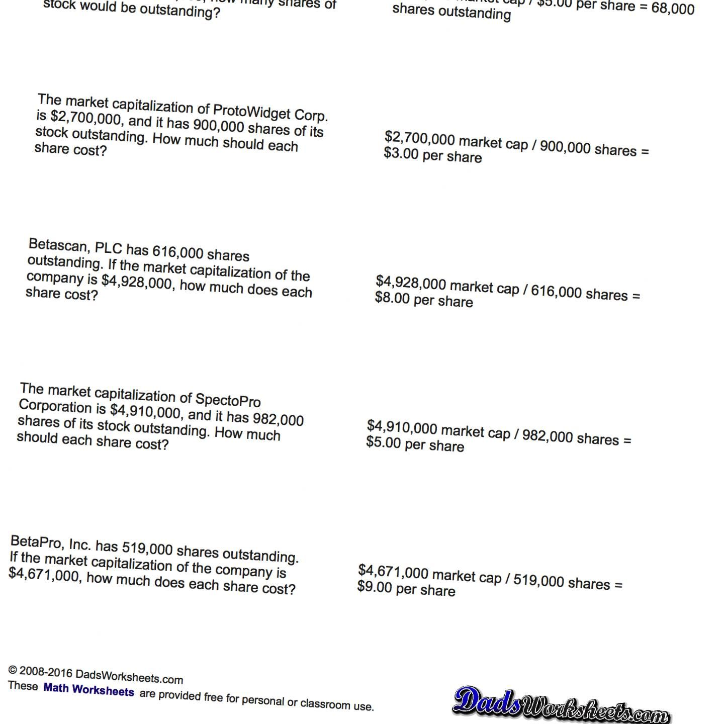 This Page Contains Links To Free Math Worksheets For Investing Problems Such As Problems To Calculate Market Capi Investing Math Facts Addition Math Printables [ 1440 x 1440 Pixel ]