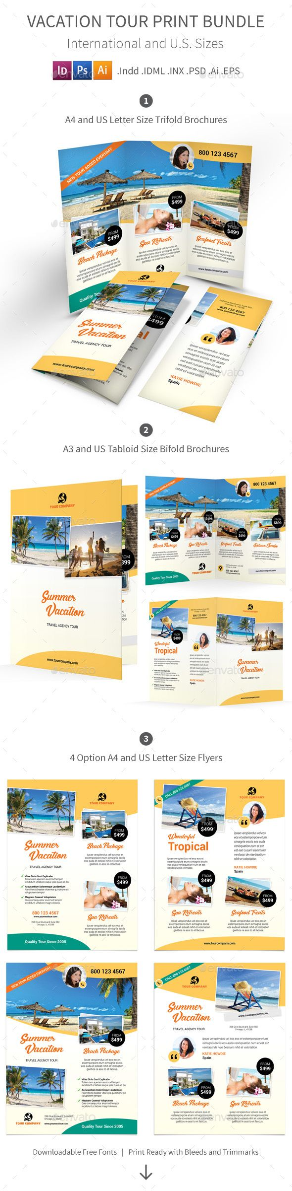 Vacation Tour Print Bundle  Vacation Brochure Template And Brochures