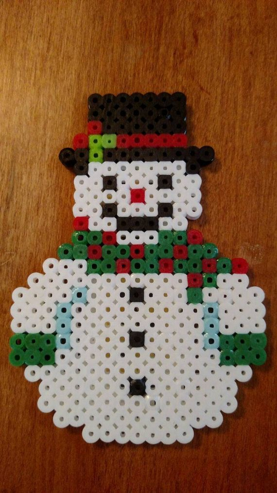 cuddle snowman with green scarf perler beads magnet - Christmas Perler Bead Patterns
