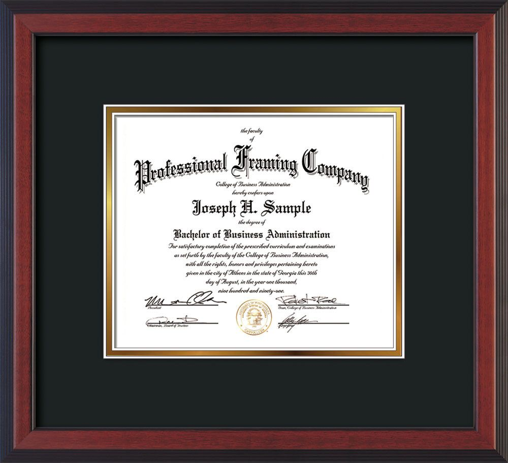 Custom Cherry Reverse Art and Document Frame with Black on Gold Mat ...