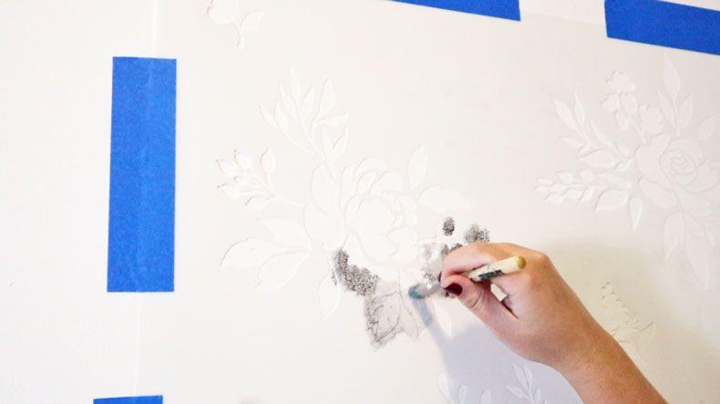 Watercolor Wallpaper Hack Using Floral Stencils Watercolor