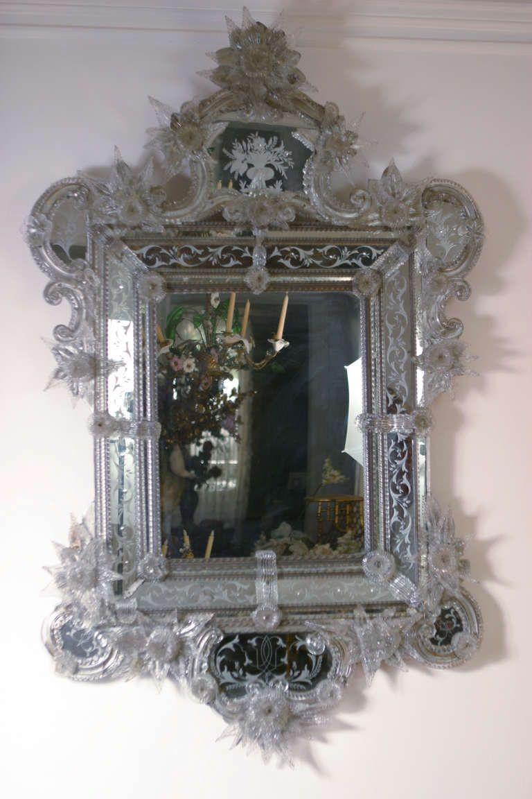 19th Century Magnificent Large Venetian Mirror 1stdibs Com Mirror Wall Venetian Mirrors Vintage Mirror Wall