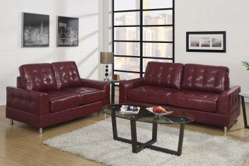 Lancaster Tufted Red Burgundy Leather Sofa And Loveseat At Gowfb Ca