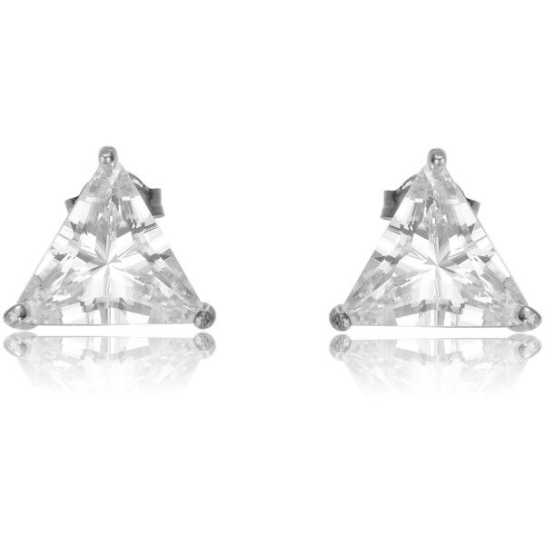 Collette Z Sterling Silver Cubic Zirconia Triangle Shape Earrings ($16) ❤ liked on Polyvore featuring jewelry, earrings, white, white earrings, sterling silver cubic zirconia earrings, sterling silver butterfly earrings, sterling silver stud earrings and triangle earrings