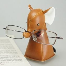 Elephant Eyeglass Stand By Zuny ZCS0030Tan $36.00 Handmade Eyeglass Stand  In Synthetic Leather, Polyester Fiber
