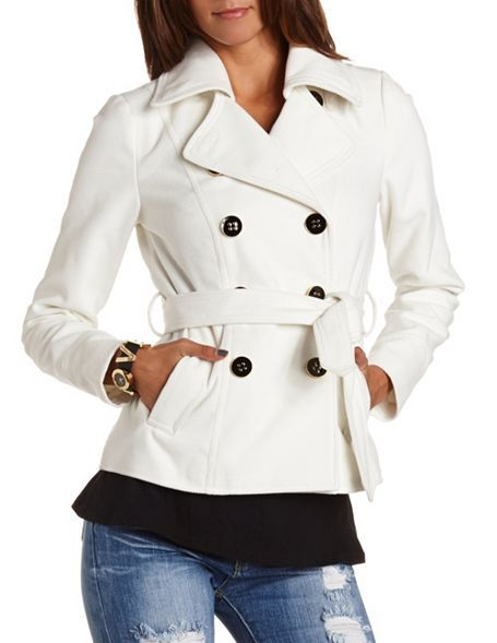 Belted Twill Button-Down Jacket: Charlotte Russe