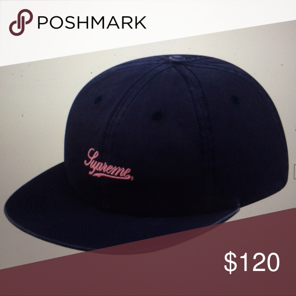 5f0baad22d7 Supreme Script Logo 6-panel hat This Navy 6-panel script logo hat ...