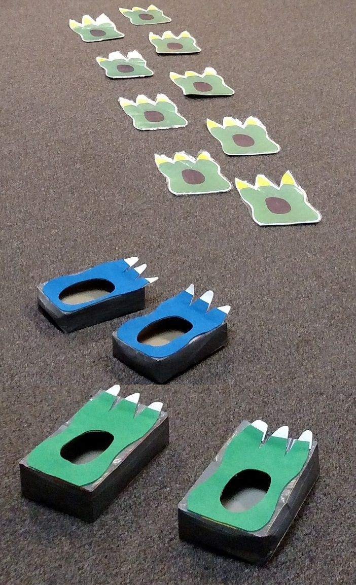 Dinosaur Feet With Prints For Following Kids Size Made From Craft Foam And Cereal