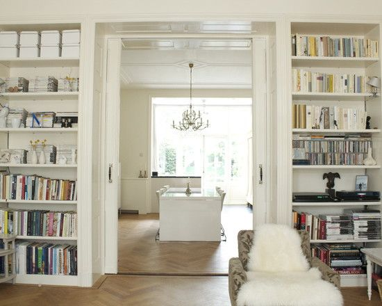 Pocket french doors surrounded by built ins perhaps for for Dining room ideas with french doors
