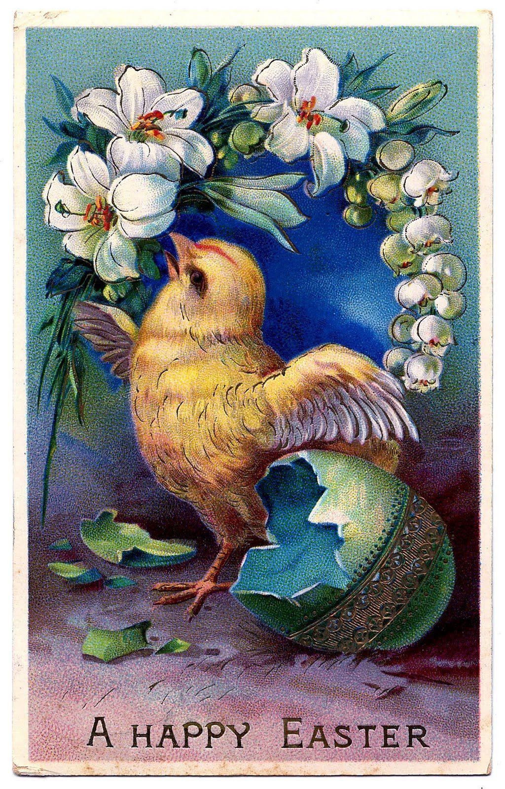 Vintage Easter Clip Art Sweet Baby Chick with Egg – Vintage Easter Cards