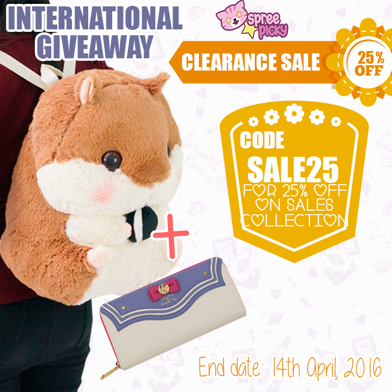 Giveaway Alert! Prize : One Sailor Moon Wallet + One Hamster Backpack ( color chosen by winner) Sounds wonderful ! 1 winner pick from instagram (please follow @Spreepicky to join), 2 winners pick from rafflecopter .  How to win: 1. Follow @SpreePicky 2. Like and share this pin 3. Tag 3 friends 4.Finish above and enter here: http://goo.gl/dRhx61 5. Ends on April 7, 2016 Asian Time 11:59 PM Good luck everyone ♥