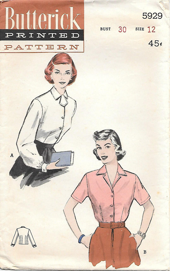 Butterick 5929 1950s Button Front Blouse Vintage Sewing | Diseño ...