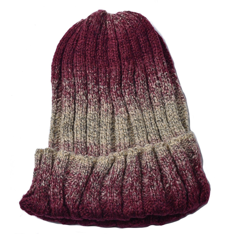 3b56cc2539cd6 Mens Womens Beanie Winter Knitting Cap Wool Warm Slouchy Beanie Hat -  Gradient Color - Dark