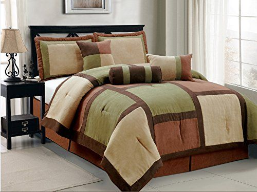 7 Piece Annasy Sage Green Brown Beige Bed In A Bag Micro Suede King Comforter  Set
