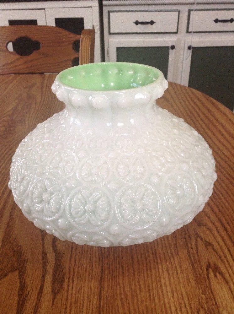 Vintage White Jade Milk Glass Raised Embossed Flowers Lamp Shade Rare Flower Lamp Shade Milk Glass Flower Lamp