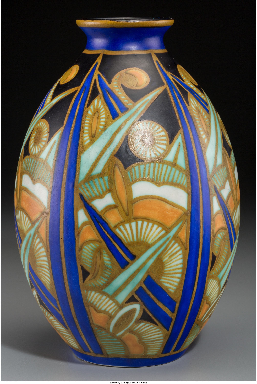 A Charles Catteau For Boch Freres Keramis Glazed Stoneware Vase La Louviere Belgium Circa 1930 Marks Boch Fr Art Deco Vases Art Deco Sculpture Pottery Art