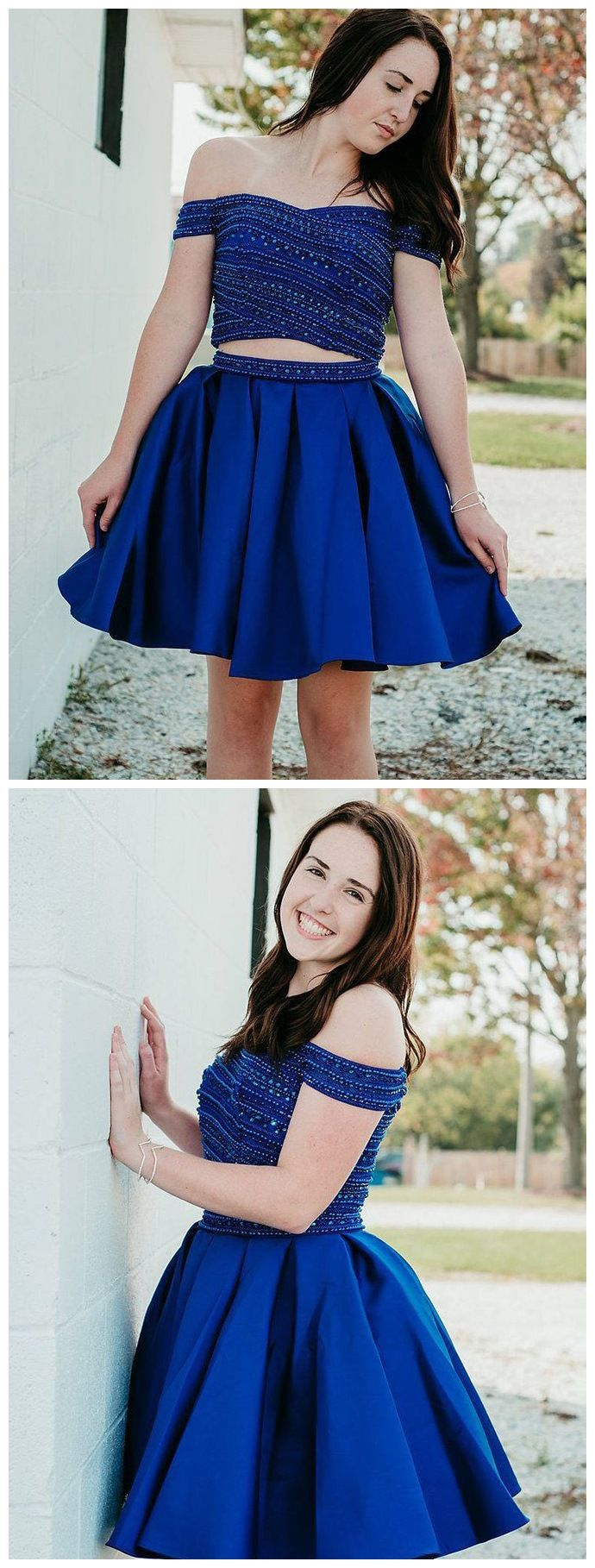 Off the shoulder two piece hoco dress beaded royal blue homecoming