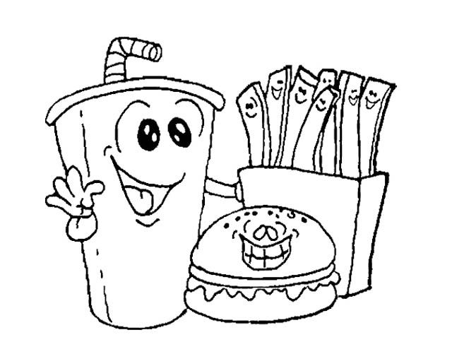 Fast Food Burger With Drink Coloring Page Kids Coloring
