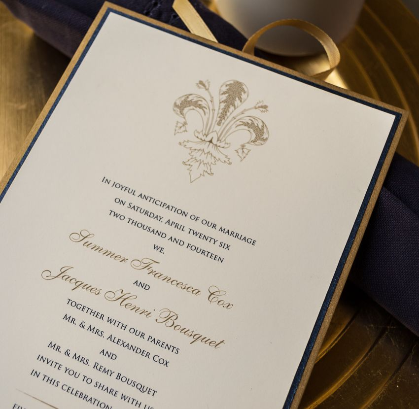 Ornate Fleur de Lis Wedding Invitations | Elegant, Weddings and Wedding