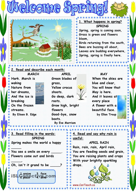 worksheet Esl Summer Worksheets welcome spring tesol summer worksheets pinterest worksheet free esl printable made by teachers