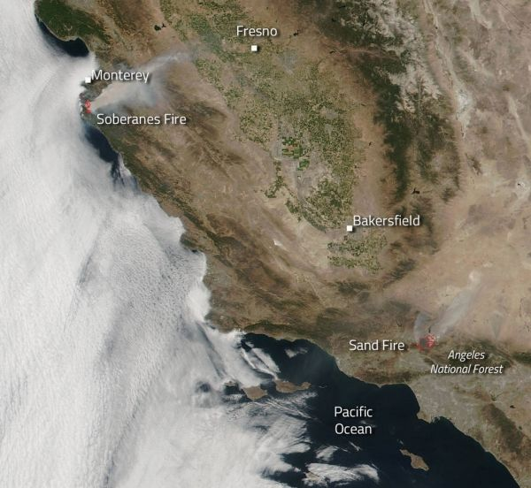 NASA's Snapshot of California 2016 Fires from Space