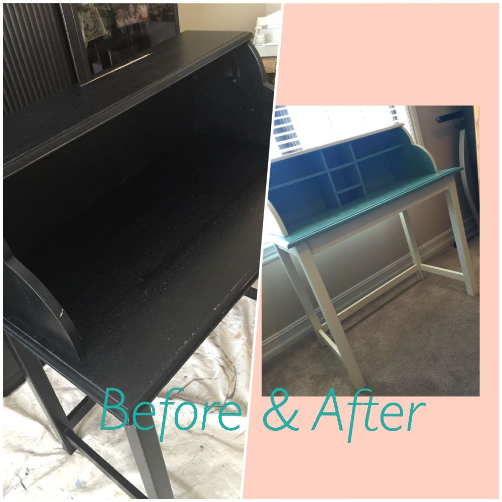 Desk/vanity. Turned from ugly to nice with chalk paint.