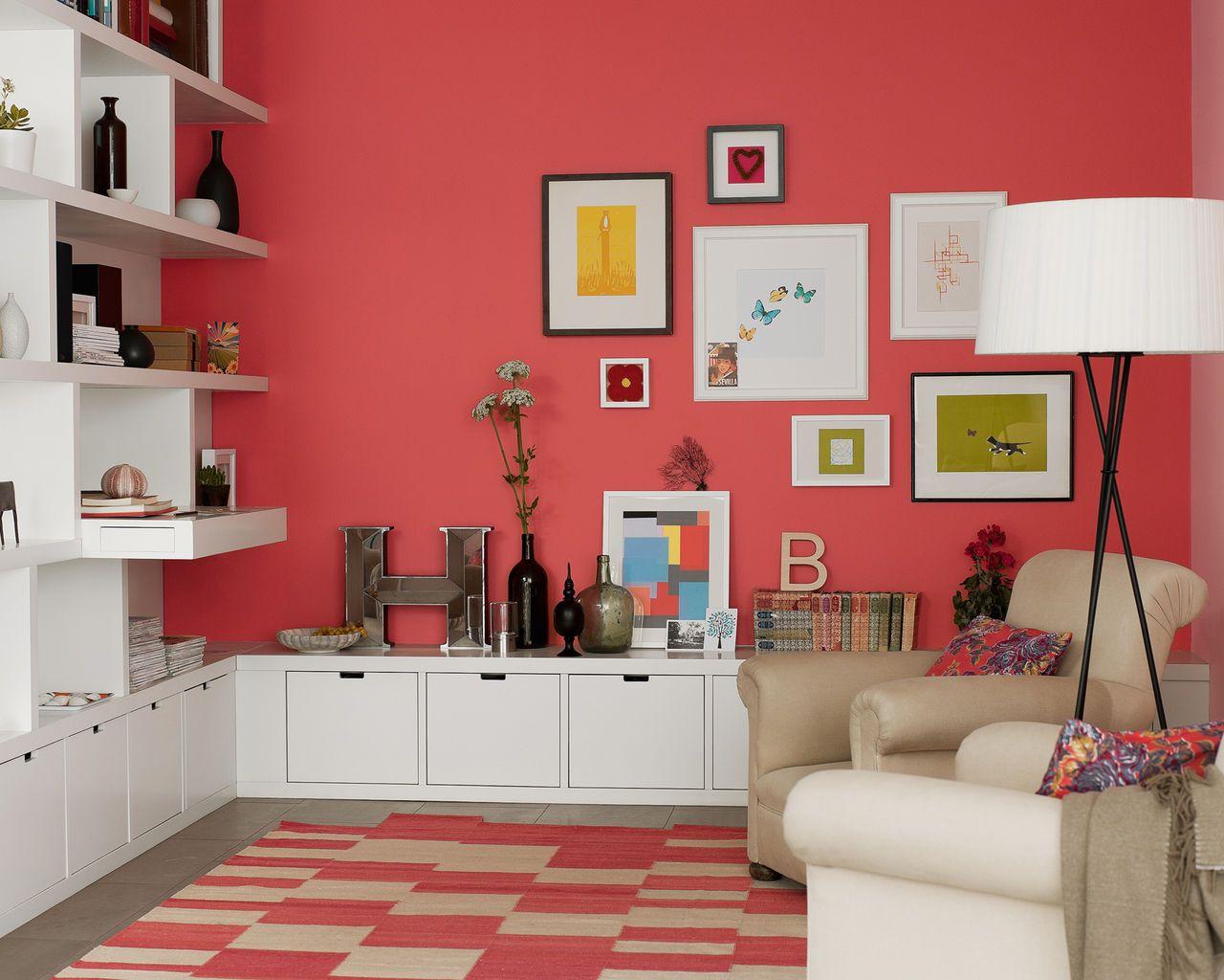Deco peinture salon peinture rouge design dulux - Peinture blanche salon ...