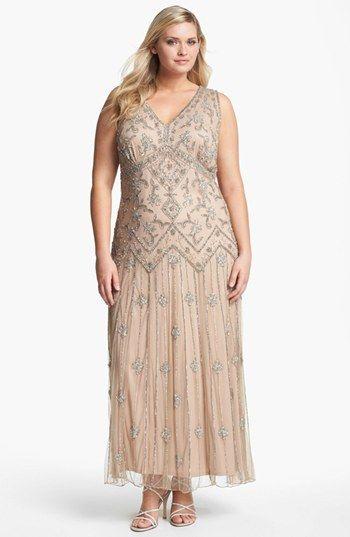 798b7015a1b Downton Abbey Style 1920s Dress - Pisarro Nights Beaded Mesh Gown (Plus Size)   218.00