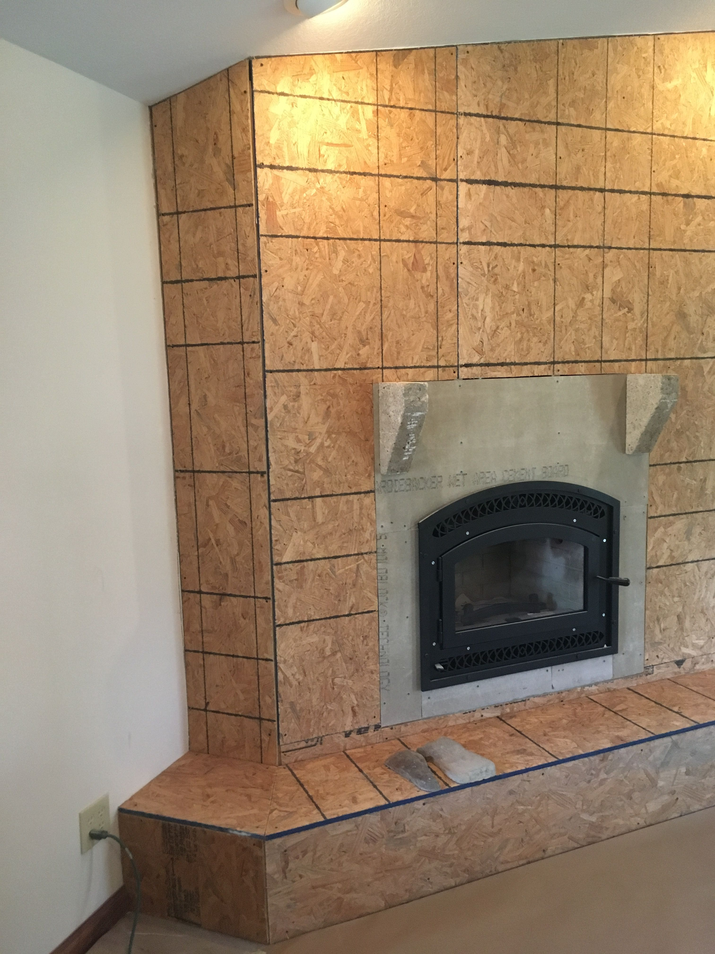 New Fireplace Insert Framed In And Ready To Have Faux Stone Lied